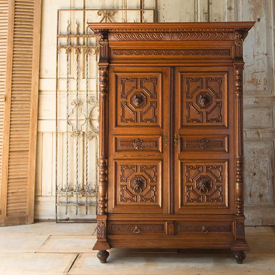 Antique Carved Oak Cabinet, France c. 1900