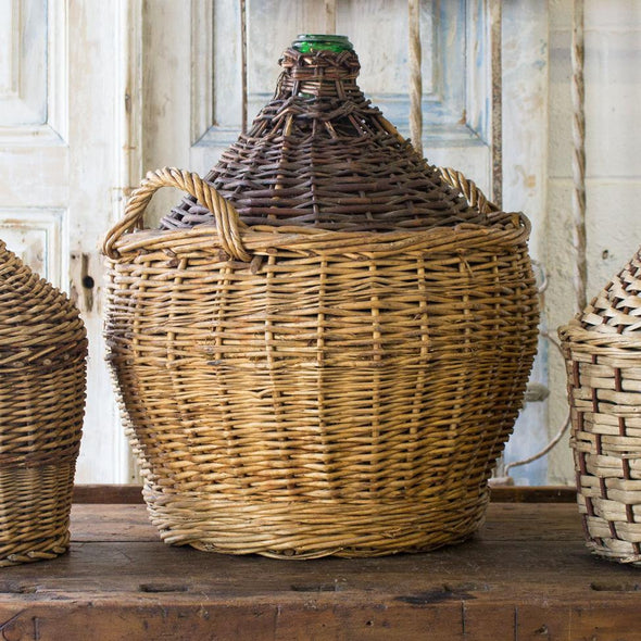 Original Wicker Covered Demijohn, France c. 1950