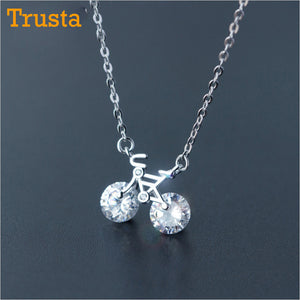 Trusta 2018 new womens fashion 925 sterling silver jewelry cool trusta 2018 new womens fashion 925 sterling silver jewelry cool bicycle pendant short 40cm necklace cute aloadofball Gallery