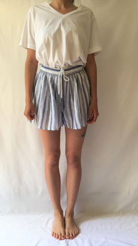 High Waisted Striped Drawstring Shorts