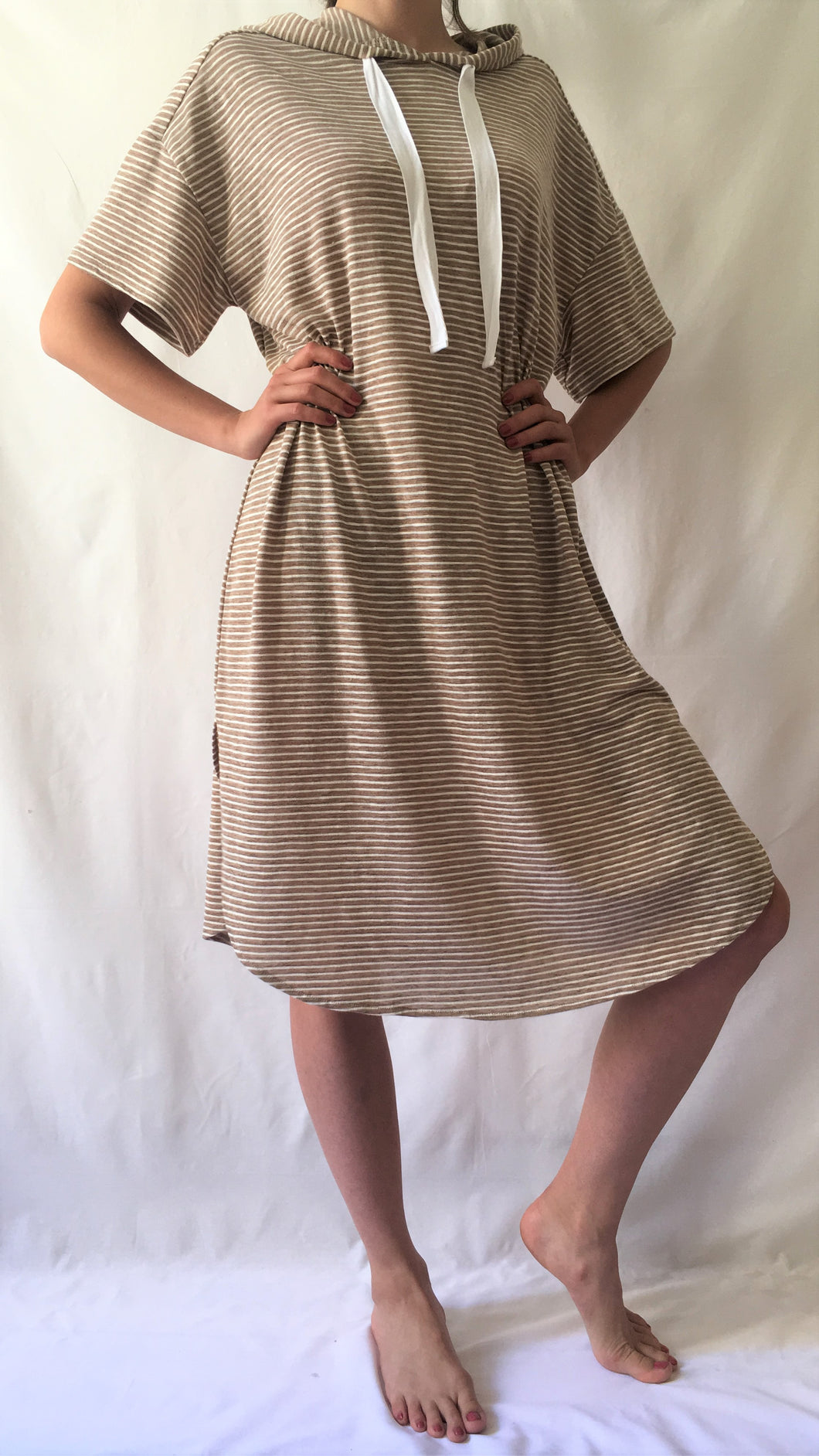 Oversized Short Sleeve Striped Hoodie Dress
