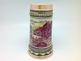Ceramic Beer Stein with German Village Dancers 1Liter