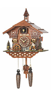 Trenkle Quartz Cuckoo Clock Black Forest House with Moving Wood Chopper and Mill Wheel, with Music