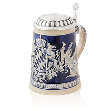 German Beer Stein Lions with flags | Traditional Bavarian Beer Mug with Metal Lid | 0.5 liter (1 pt.) | blue | Made in Germany