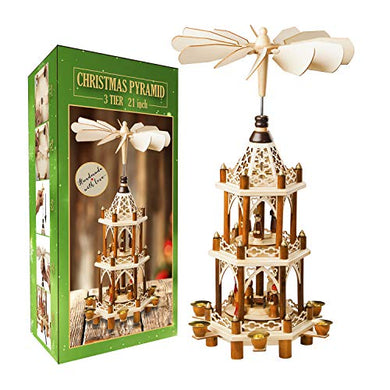 German Christmas Decoration Pyramid - 21 Inches - Wood Nativity Scene Set