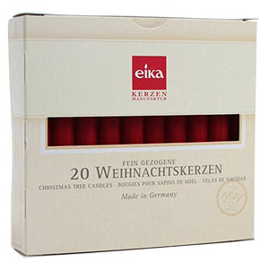 Eika 20 Pieces Christmas Tree Candle Set Made in Germany High 10.5 Cms Red
