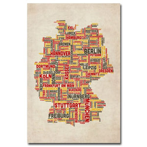 Germany Cities Text Map Canvas Wall Art - Multiple Sizes