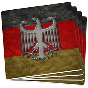 German Flag Eagle Crest Set of 4 Square Sandstone Coasters Multi Standard One Size