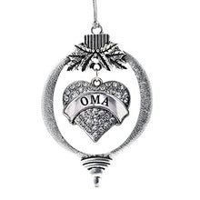 Silver Oma Pave Heart Holiday Christmas Tree Ornament With Crystal Rhinestones
