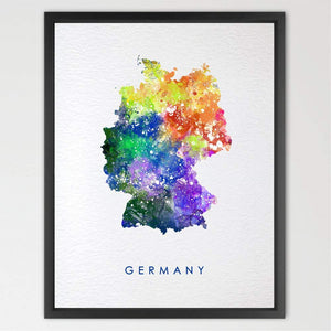 Germany Map Watercolor illustrations Art Print