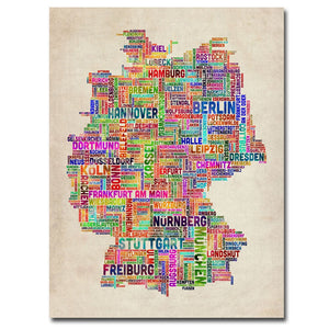 Germany Text Map Canvas Wall Art