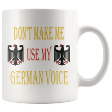White 11oz German Voice Mug