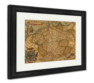 Framed Print, Antique Map Of Germany