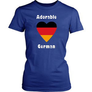 Adorable German! Heart T-Shirt Blue