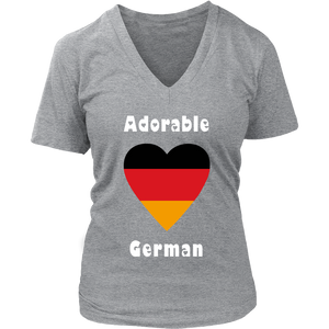 Adorable German! Heart T-Shirt Grey