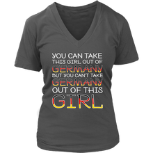 You Can't Take The Germany Out Of This Girl! Grey V-Neck T-Shirt