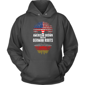 American Grown With German Roots Hoodie Grey