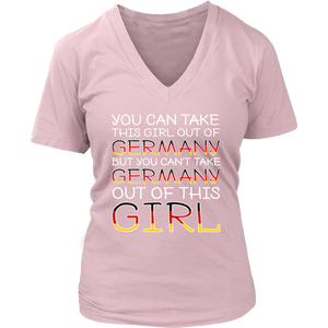 You Can't Take The Germany Out Of This Girl! Pink V-Neck T-Shirt