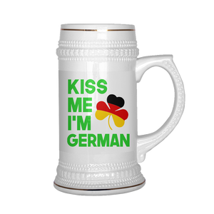 Kiss Me I'm German Beer Stein For St. Patrick's Day!