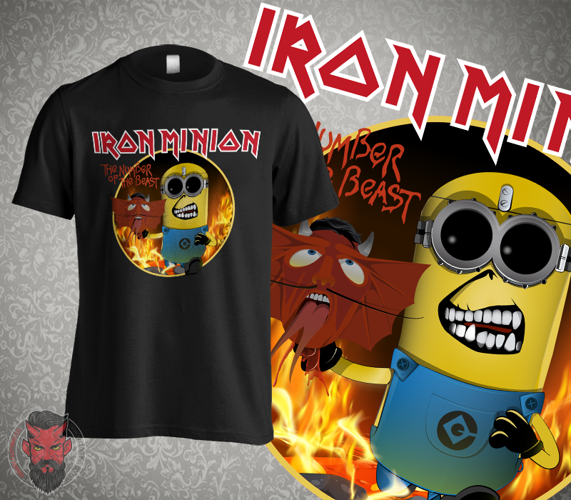 cec9661842 Iron Minion Number of the Beast Funny T-Shirt Iron Maiden Parody Adult Kids  -