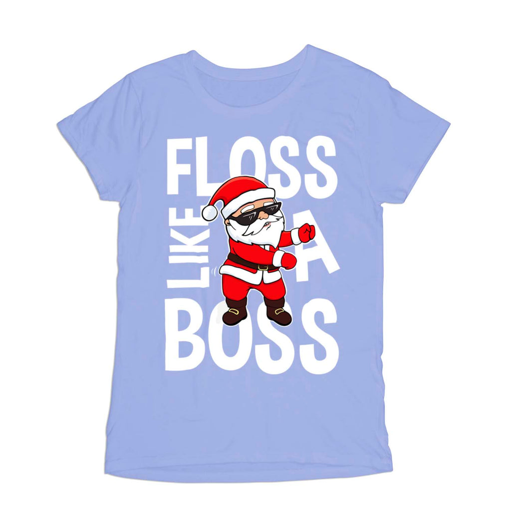 f95d31100 Floss Like a Boss Funny Flossing Santa Christmas Xmas Womens T-Shirt ...