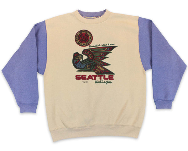 90's Seattle Washington Thunderbird Two Tone Vintage Sweatshirt