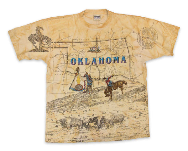 Vintage 90s Oklahoma Map All Over Print T-Shirt │ yoREVIVAL Clothing