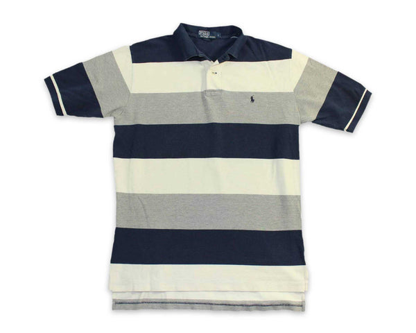 Vintage 90 Ralph Lauren Striped Mens Rugby Polo Shirt | REVIVAL Clothing