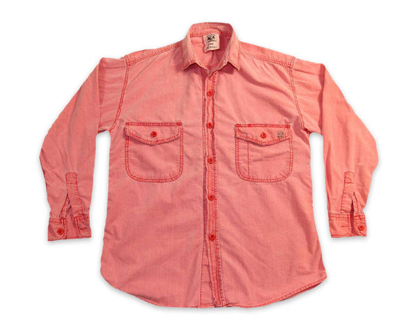 Vintage 90s Red Chambray Cotton Mens Button Shirt | REVIVAL Clothing