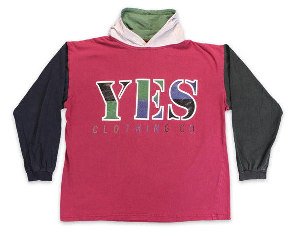 90's YES Clothing Co Streetwear Color Block Vintage Hoodie