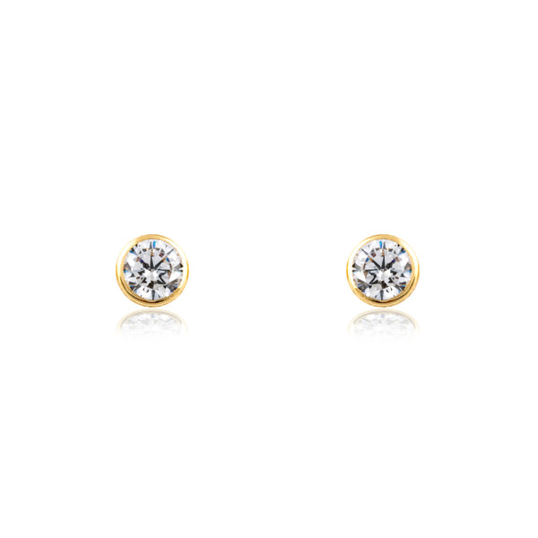 Pendientes chatón de oro amarillo de 18 kilates de Rhapsody Jewels