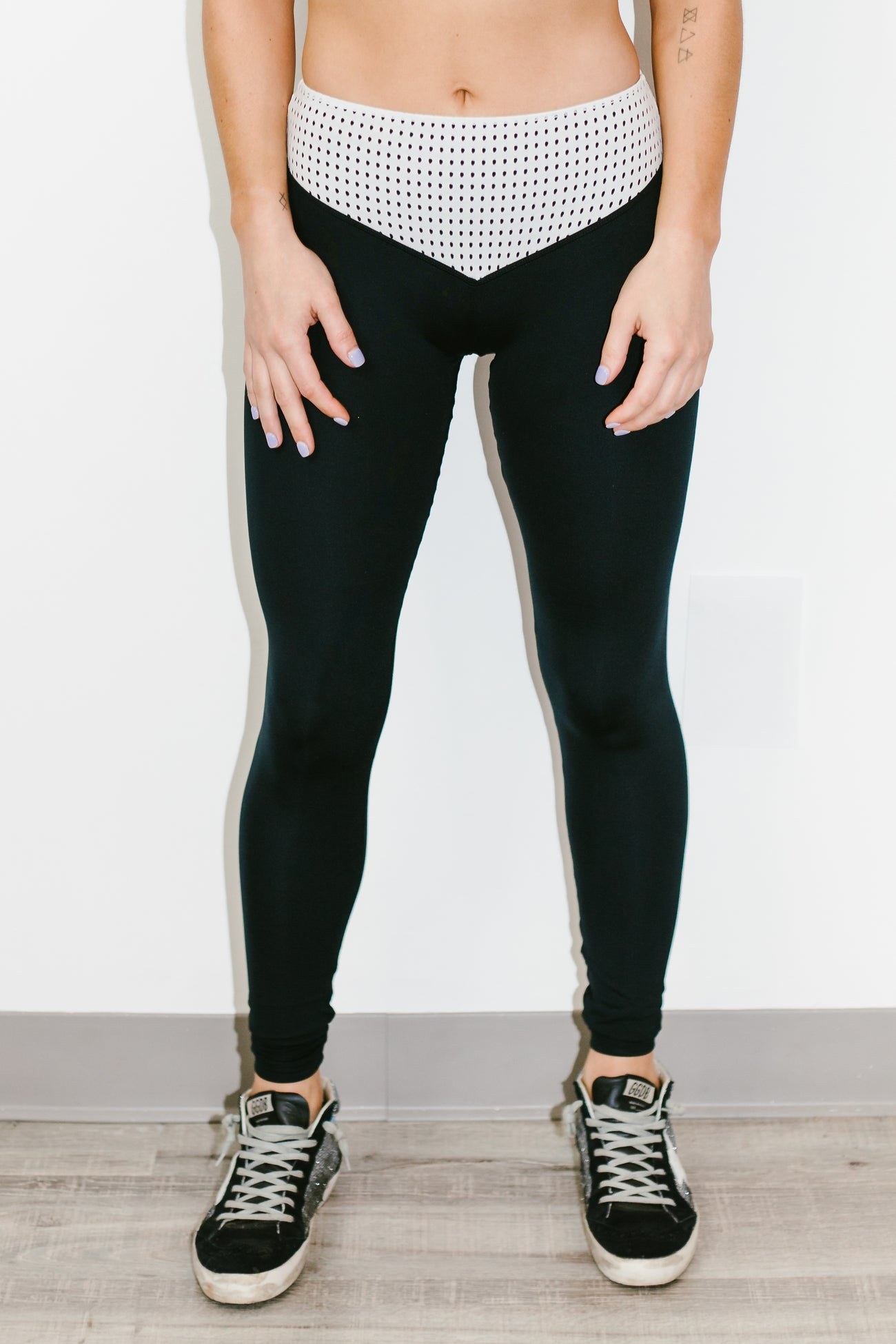 Mateo Full Length Legging in Jet/White Mesh