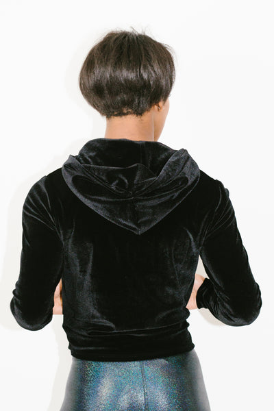 Zip Up Hoodie in Black Velvet