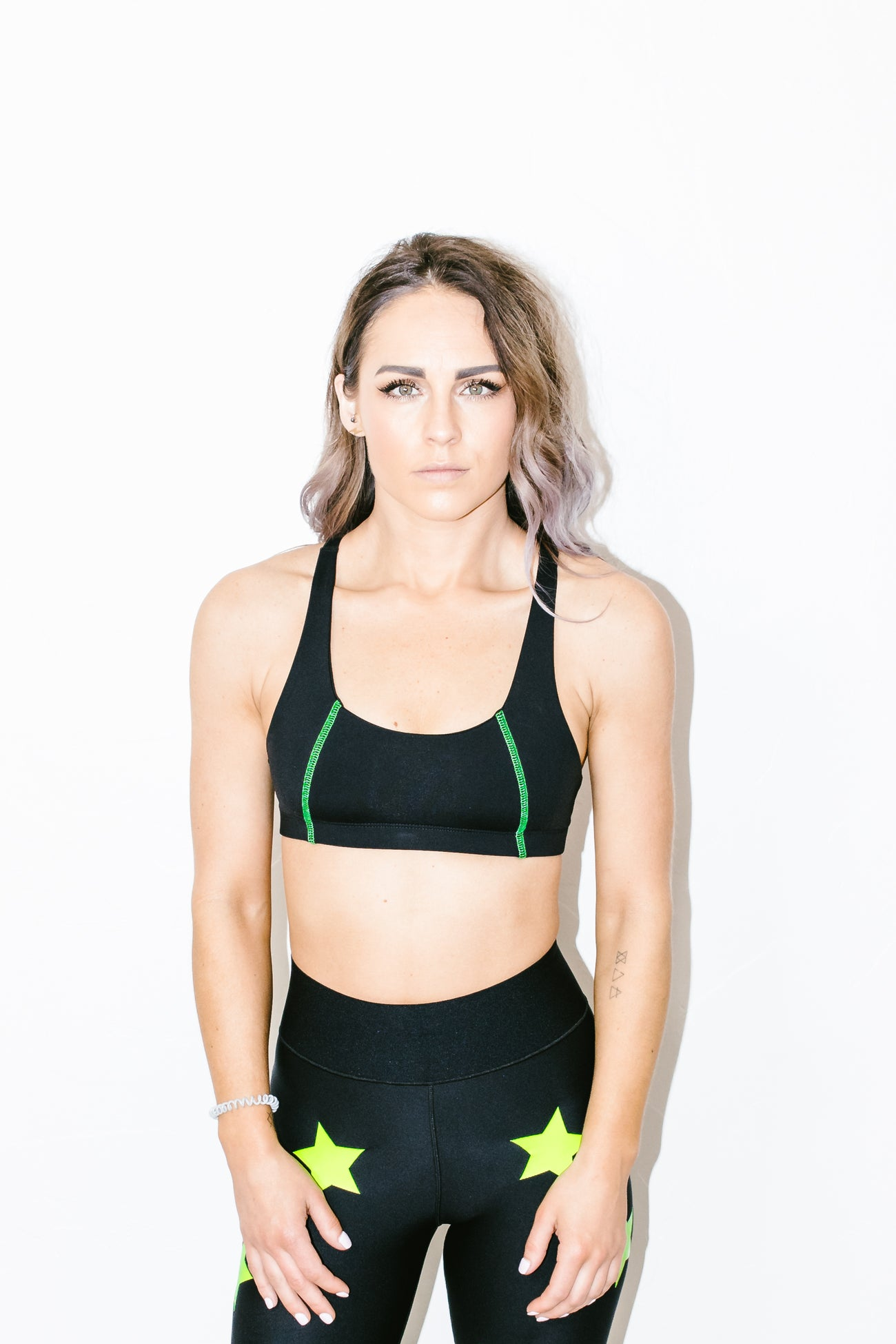 Color Blocked Basic Bra in Neon Black
