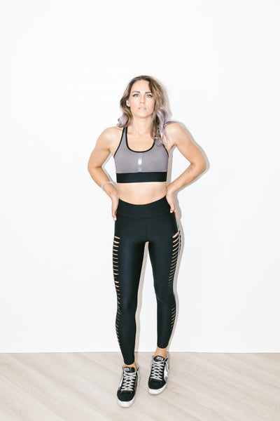 Ultra High Lux Slash Legging Nero Patent Nero
