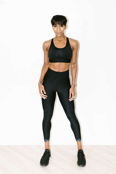 Sprinter High Siren Legging in Nero Blue Metal