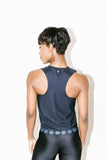 Siren Racerback Tank in Nero Blue Metal