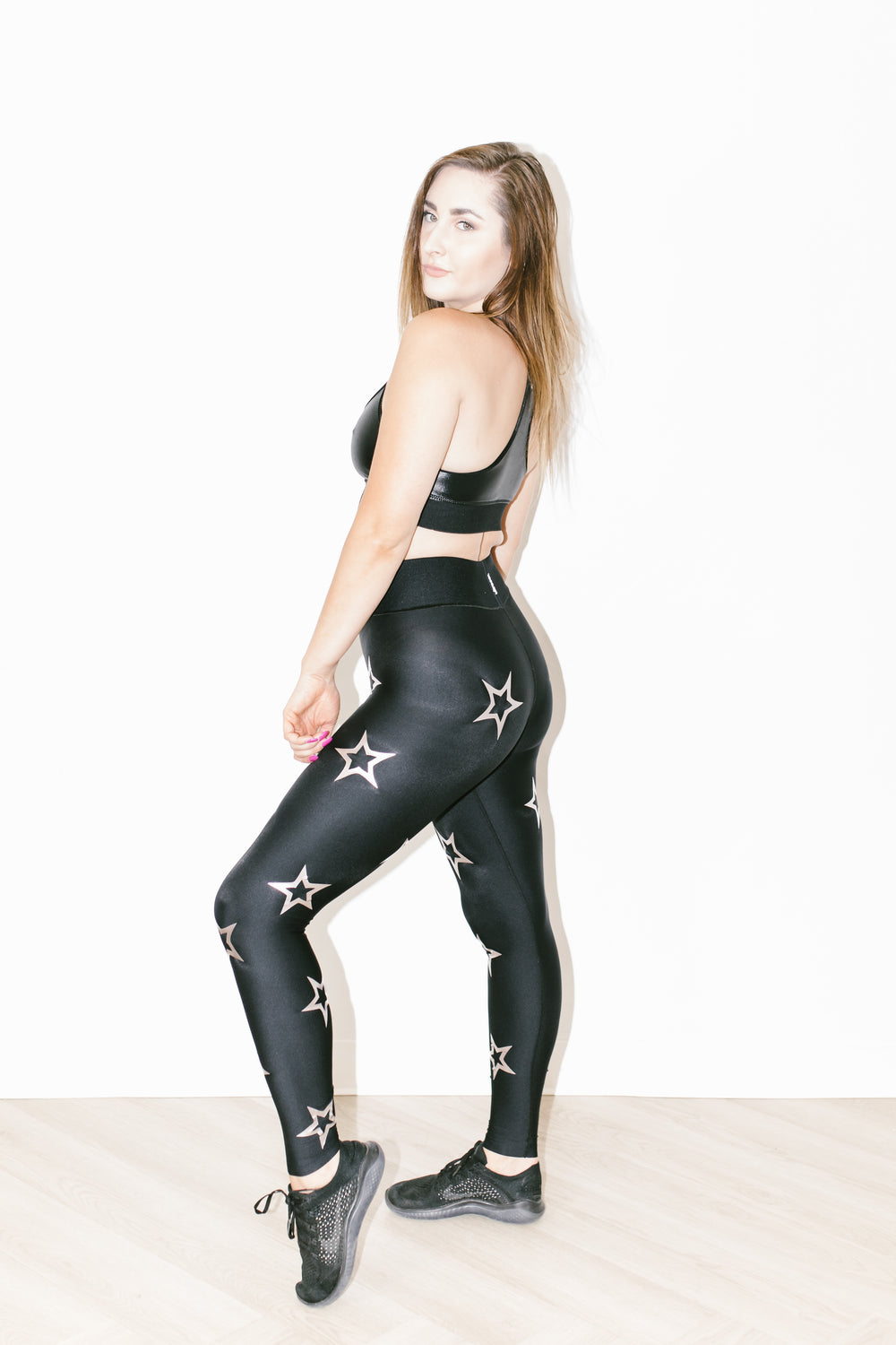Ultra High Dropout Knockout Legging in Nero Metallic Rose