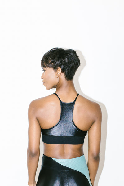 Trifecta Versatility Bra in Black + Aquamarine