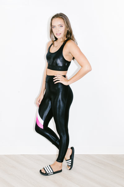 Stage High Rise Infinity Legging in Black + Hot Pink