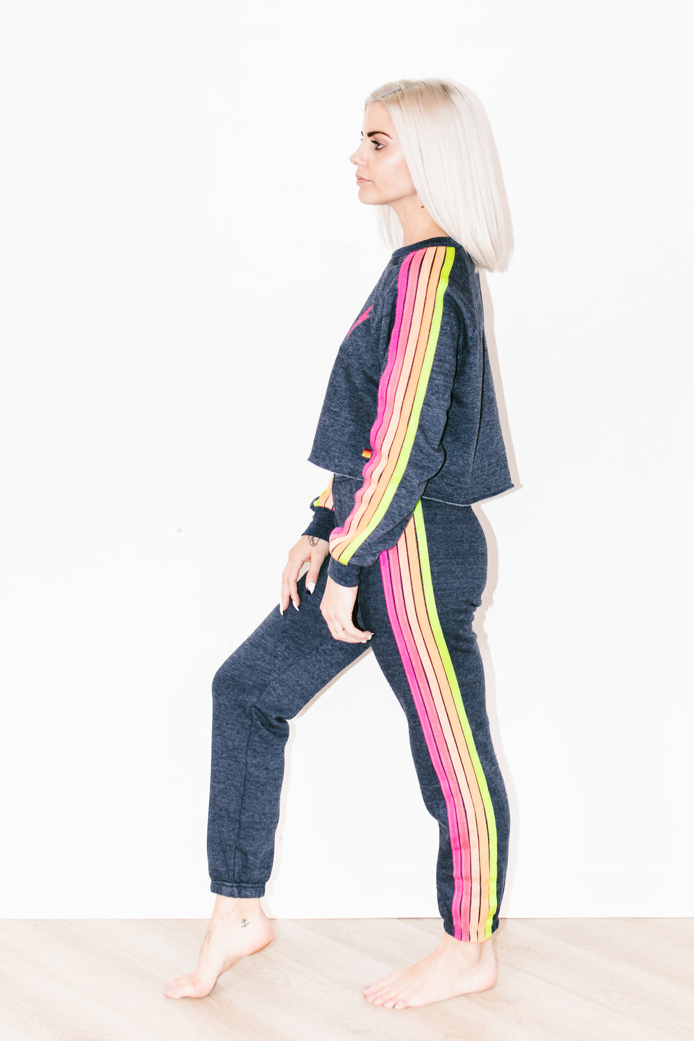 5 Stripe Sweatpants in Heather Navy Neon
