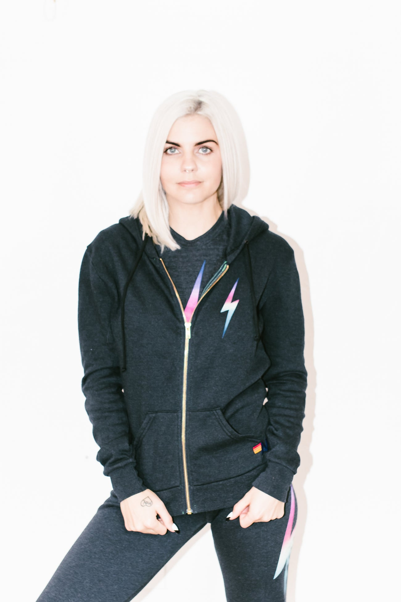 Bolt Zip Hoodie in Rainbow Pink