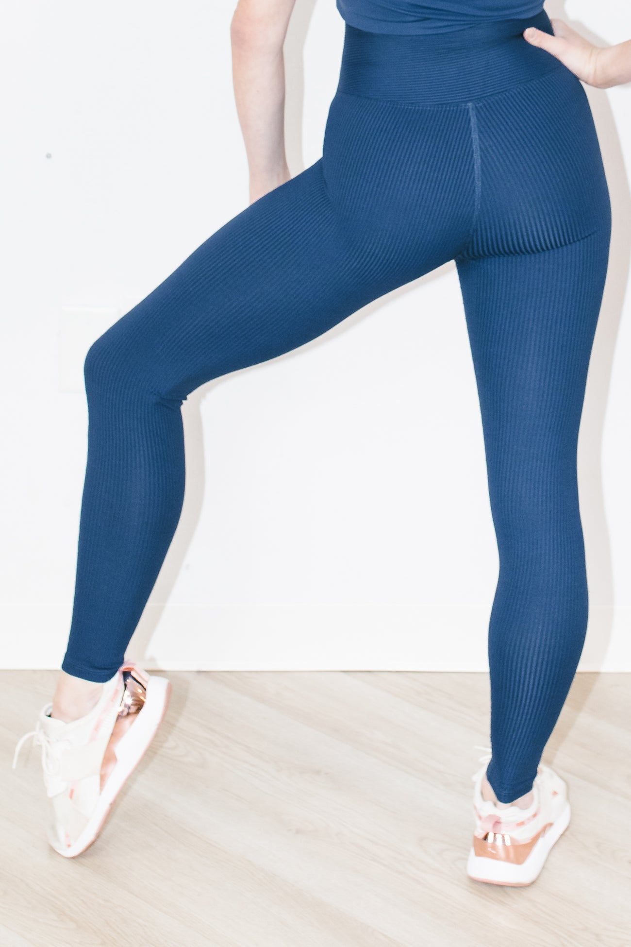 Ribbed Football Legging in Navy