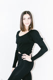 Sweetheart Long Sleeve Crop in Black Rib