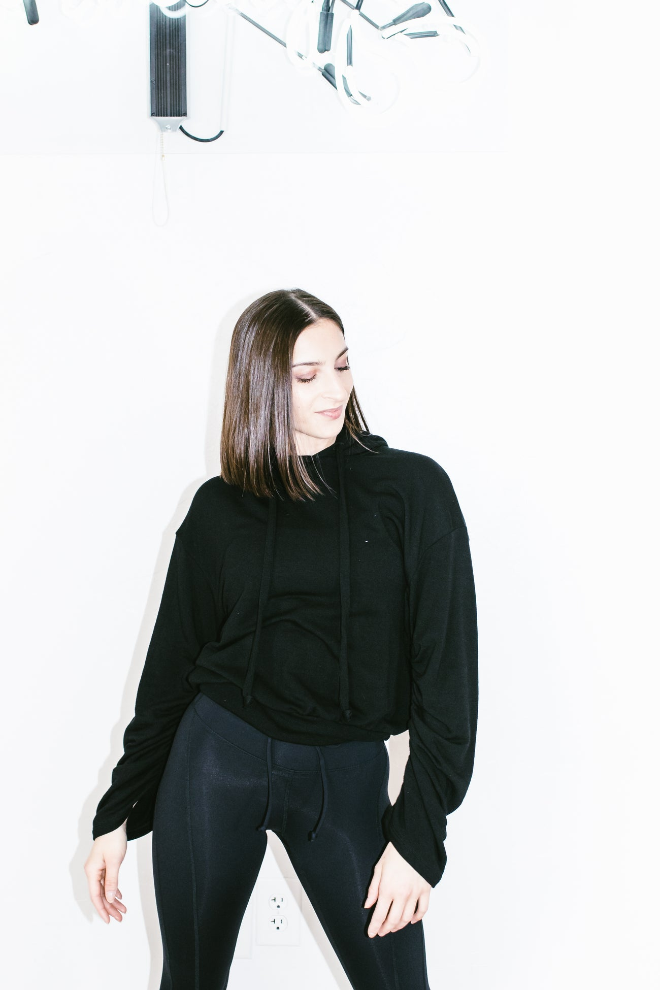 Ruched Sleeve Hoodie in Black Terry
