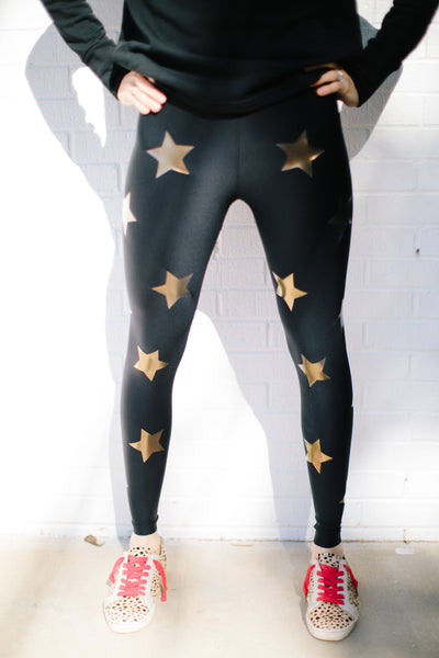 Ultra Silk Knockout Legging in Nero Iridescent Gold