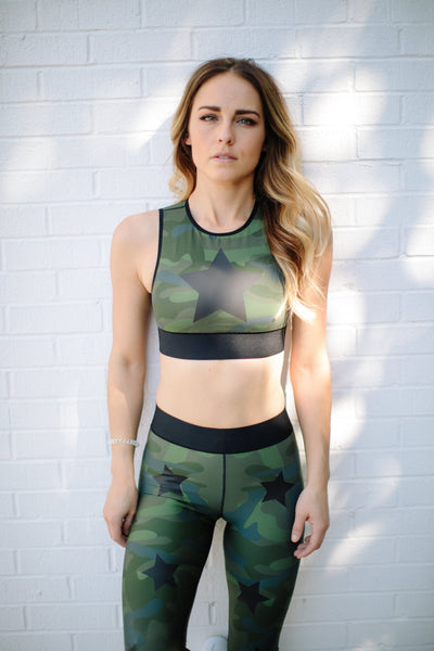 Ultra Silk Camo Knockout Crop Top in Army Green Matte