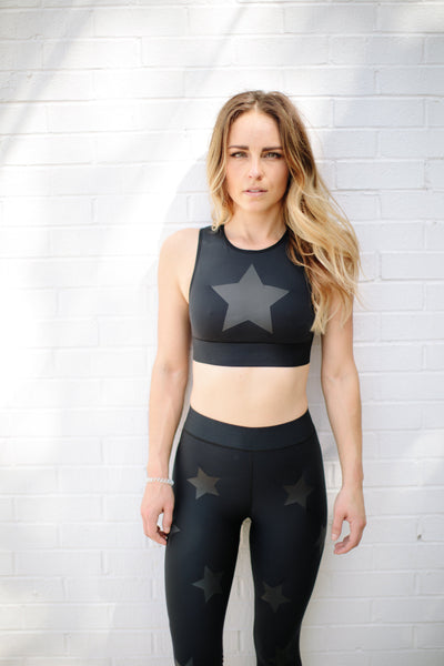 Level Knockout Crop Top in Nero Matte