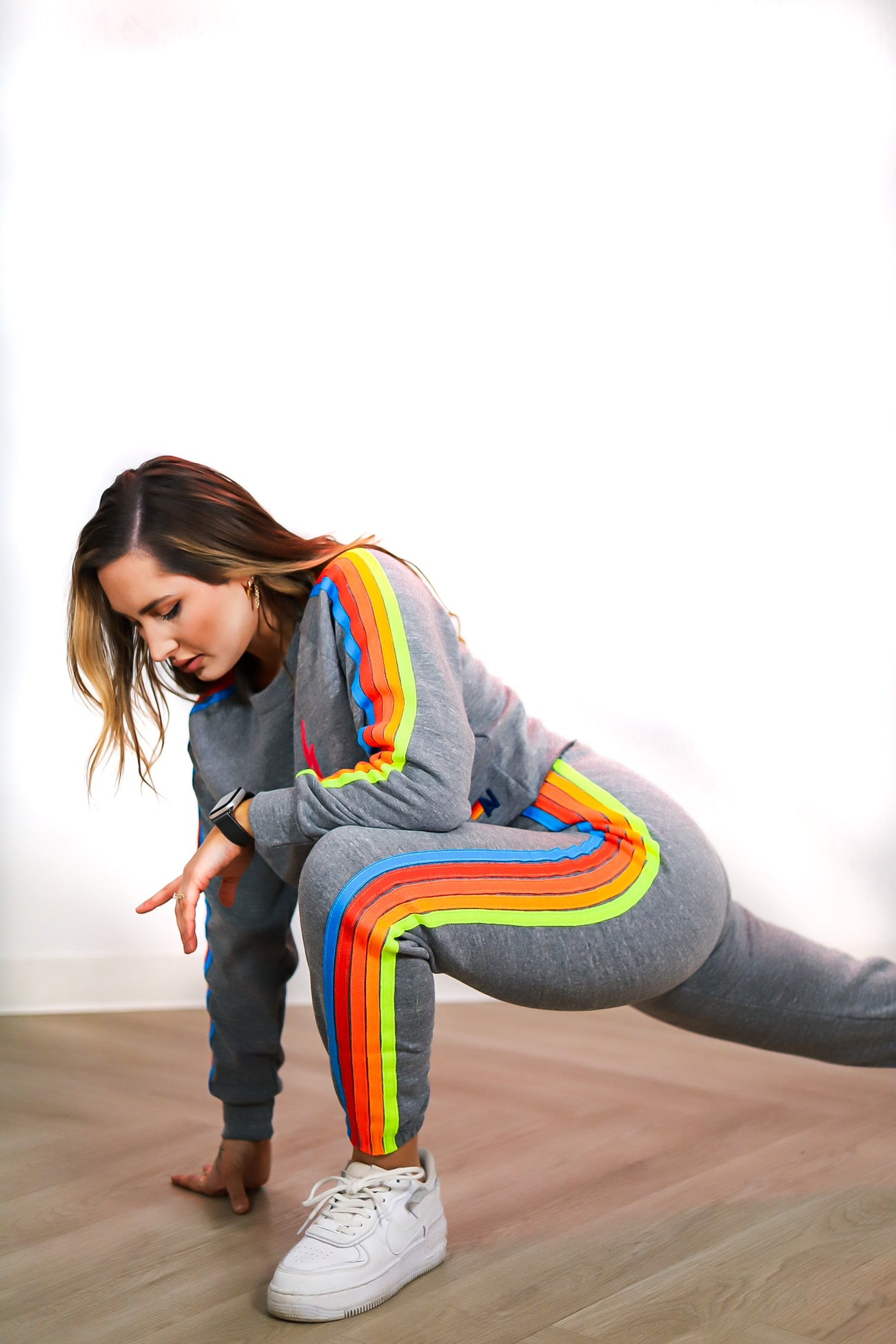 BOLT CLASSIC CROPPED CREW SWEATSHIRT in HEATHER / NEON RAINBOW