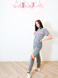 CHEVRON 5 WOMENS SWEATPANT IN HEATHER GREY + NEON RAINBOW